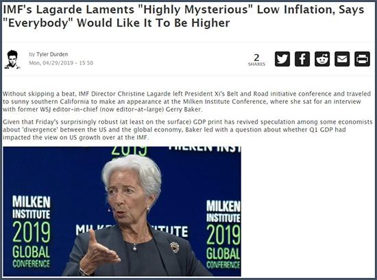 ZeroHedge Lagarde regrette une inflation basse hautement mystérieuse