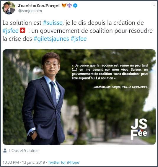 Tweet JSF La solution est suisse : un gouvernement de coalition pour résoudre la crise des gilets jaune