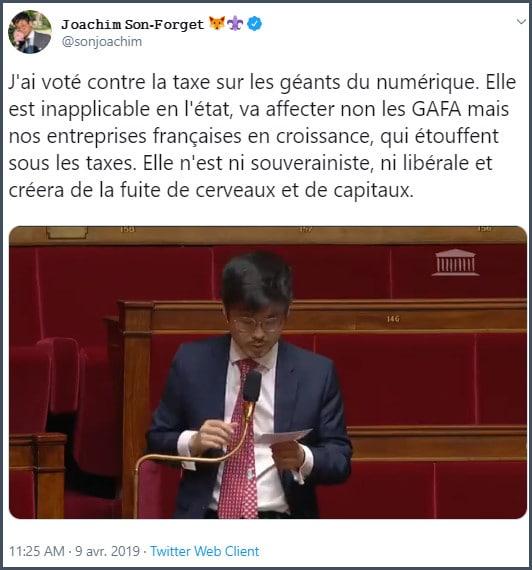 Tweet JSF J'ai voté contre la taxe sur les géants du numérique