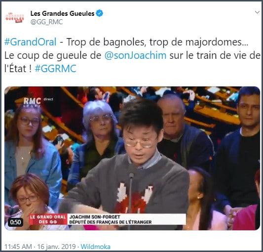 Tweet Les Grandes Gueules le coup de gueule de JSF sur le train de vie de l'Etat