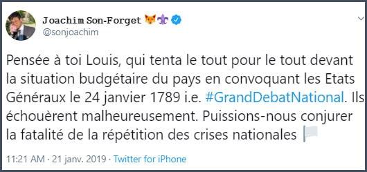 Tweet JSF Pensée à toi Louis, qui tenta le tout pour le tout devant la situation budgétaire du pays en convoquant les états généraux le 24 janvier 1789