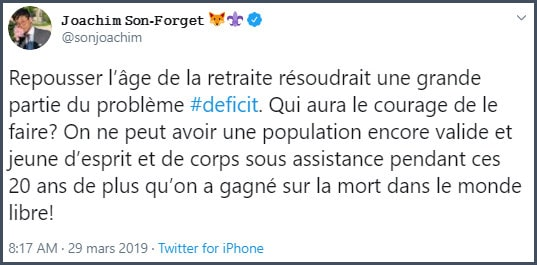 Tweet JSF Repousser l'âge de la retraite résoudrait une grande partie du problème du déficit