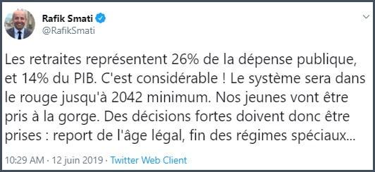 Tweet Rafik Smati Les retraites représentent 26% de la dépense public et 14% du PIB
