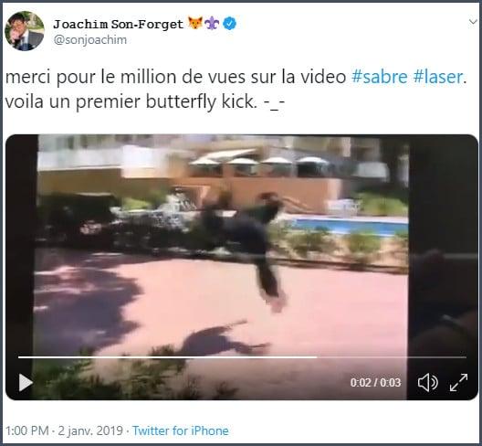 Tweet JSF Merci pour le million de vue sur la vidéo sabre laser