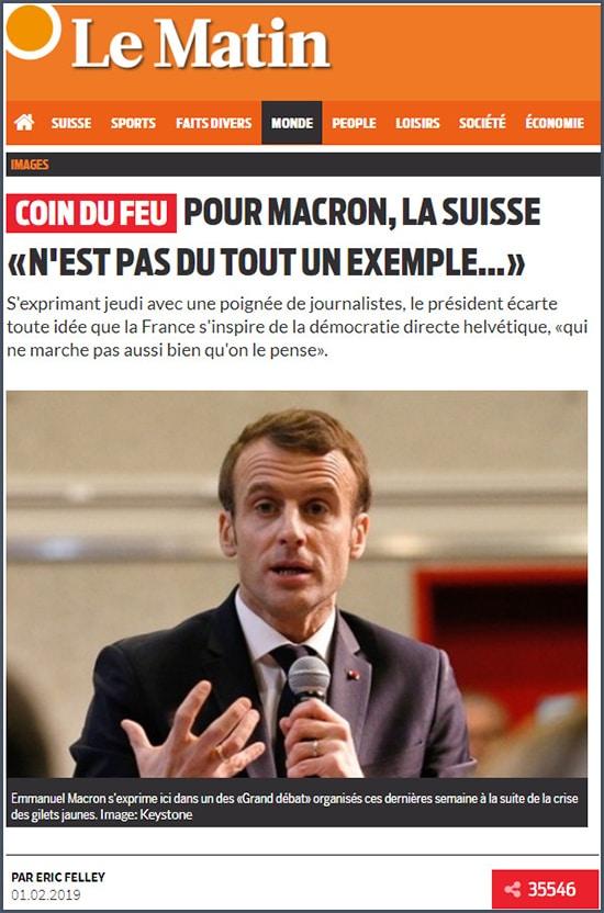 La Matin Pour Macron la Suisse n'est pas du tout un exemple