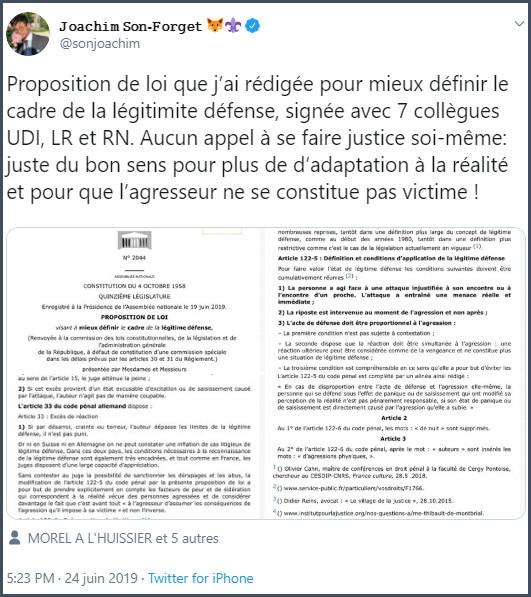 Tweet JSF Proposition de loi rédigée pour mieux définir le cadre de la légitime défense