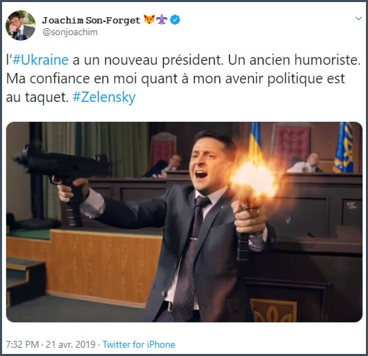 Tweet JSF L'Ukraine a un nouveau président. Un ancien humoriste