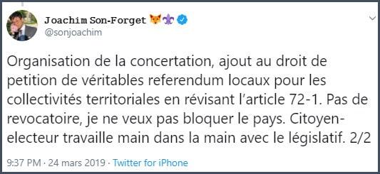 Tweet JSF Organisation de la concertation, ajout au droit de pétition de véritables référendum locaux pour les collectivités territoriales