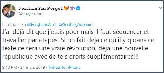 Tweet JSF J'ai déjà dit que j'étais pour le fédéralisme mais il faut séquencer et travailler par étapes