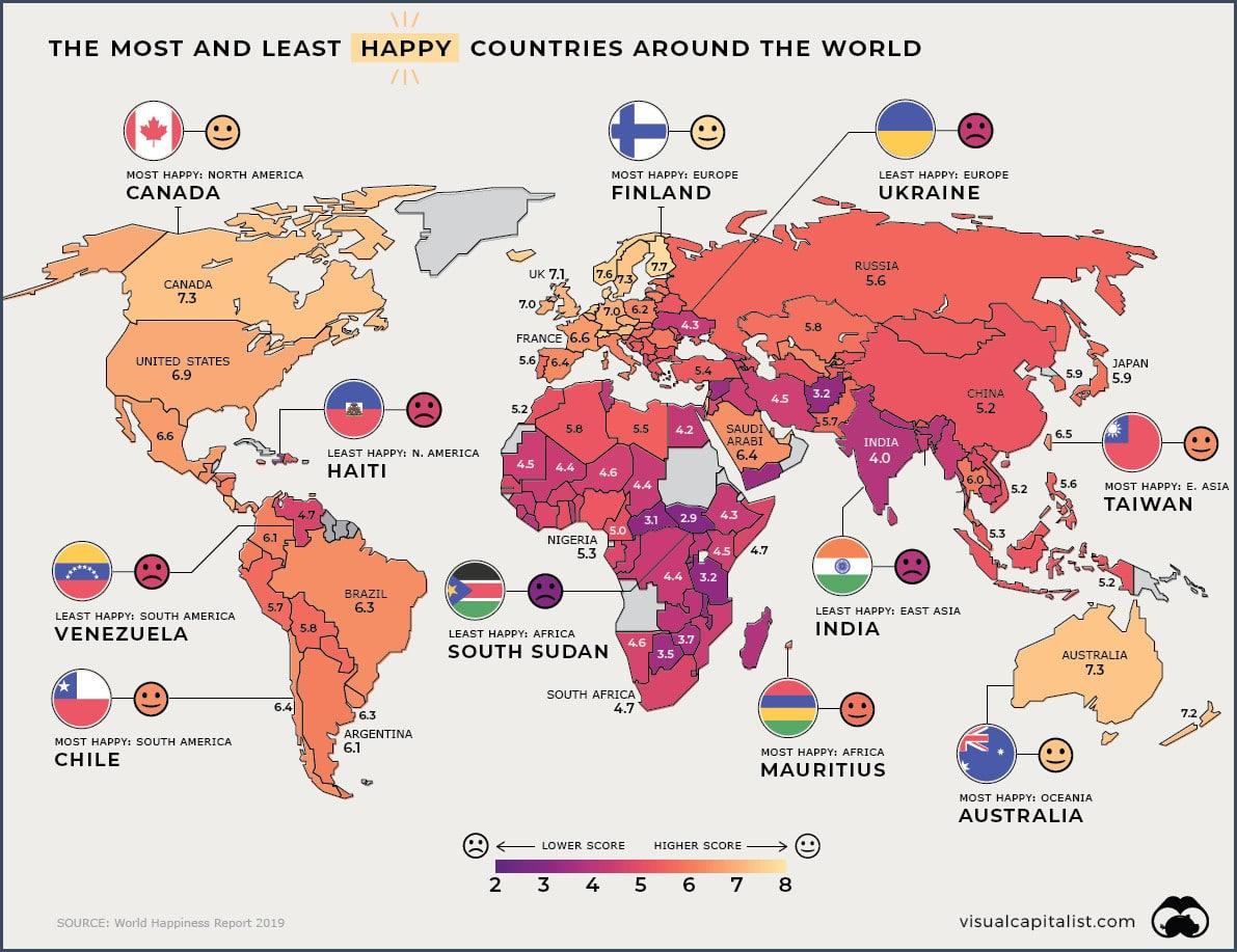 Carte les pays les plus et moins heureux au monde