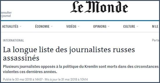 Le Monde La longue liste des journalistes russes assassinés