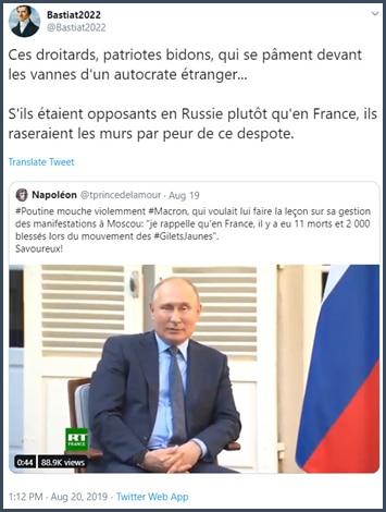 Tweet Bastiat Ces droitards, patriotes bidons, qui se pâment devant les vannes d'un autocrate étranger...