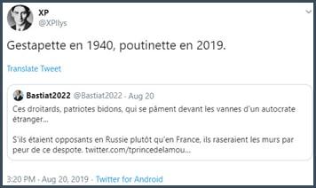 Tweet XP Gestapette en 1940, poutinette en 2019
