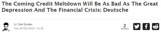ZeroHedge La prochaine crise de crédit sera aussi grave que la Grande dépression et la crise des subprimes