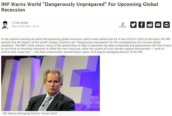 Le FMI alerte du fait que le monde est dangereusement mal préparé pour la prochaine récession mondiale