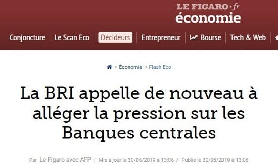 Le Figaro La BRI appelle de nouveau à alléger la pression sur les banques centrales