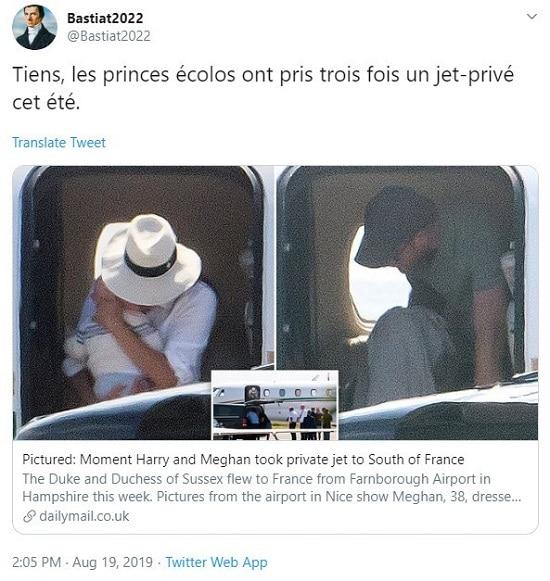 Tweet Bastiat2022 Tiens les princes écolos ont pris trois fois un jet privé cet été
