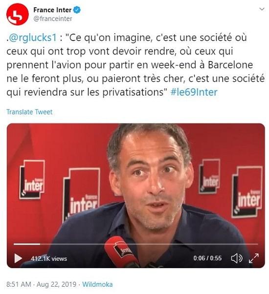 Tweet France Inter cite Raphaël Glucksmann