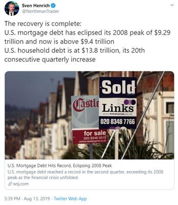 Tweet Sven Henrich la reprise est presque finie : la dette hypothécaire a dépassé son pic de 2009