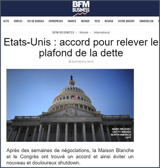 BFM Business Etats-Unis accord pour relever le plafond de la dette