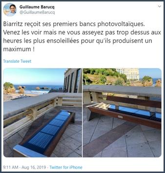 Tweet Guillaume Barucq Biarritz reçoit ses premiers bancs photovoltaïques