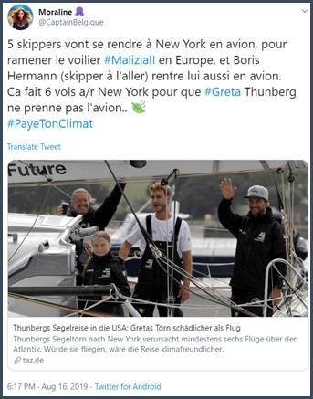 Tweet Moraline 5 skippers vont se rendre à New York en avion pour ramener le voilier en Europe