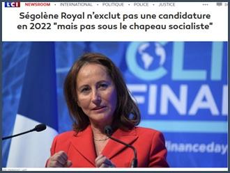 Ségolène Royal n'exclut pas une candidature en 2022 mais pas sous le chapeau socialiste