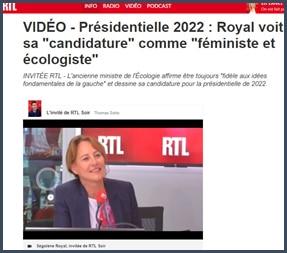 Présidentielle 2022 Royal voit sa candidature comme féministe et écologiste