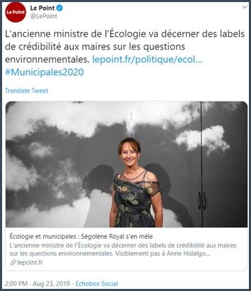 L'ancienne ministre de l'Ecologie va décerner des labels de crédibilité aux maries sur les questions environnementales