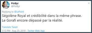 Tweet PtitByl Ségolène Royal et crédibilité dans la même phrase