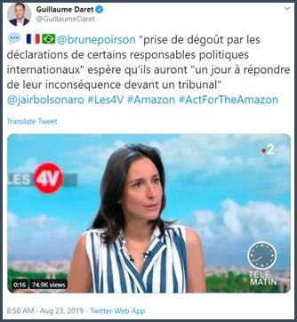 Brune Poirson Prise de dégoût par les déclarations de certains responsables politiques internationaux espère qu'ils auront un jour à répondre de leur inconséquence devant un tribunal