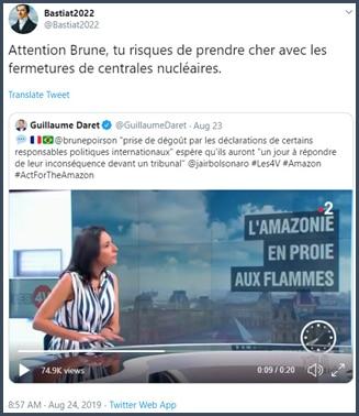 Tweet Bastiat Attention Brune, tu risques de prendre cher avec les fermetures de centrales nucléaires