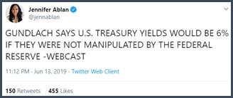 Tweet Gundlach estime que les rendements des bons du Trésor seraient de 6% so la Fed ne les manipulait pas